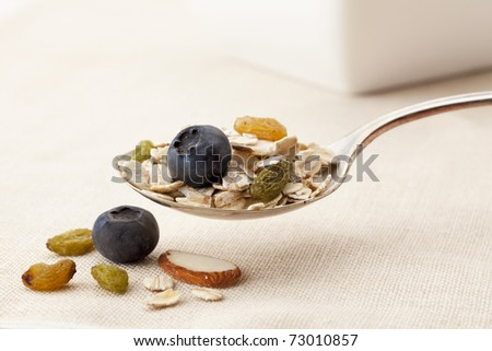 spoon of muesli cereal with oats, fresh blueberries, dried golden raisins and sliced almonds, shallow depth of field