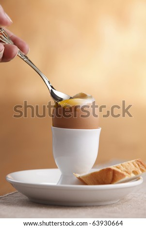 spoon on the boiled egg