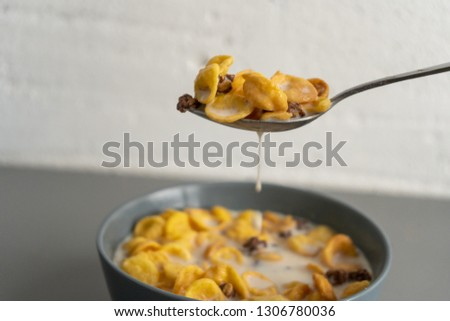 Spoon with cornflakes and milk #1306780036