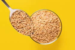 Spoon with grain Oat groats on a yellow background. Oat groats in a glass bowl. Raw whole oat seeds. Colorful. Healthy eating.