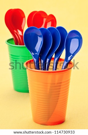 spoons and cups recyclable, colorful