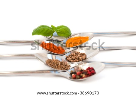 Spoons with different spices isolated on white