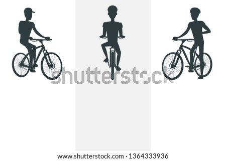 Sport active lifestyle and cyclist bright banner raster illustration with three black silhouettes of sportsmen s on bikes text sample helmet cap