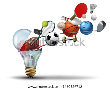 Sport activity idea and exercise concept as an icon for active living with sports equipment coming out of a light bulb with 3D illustration elements.