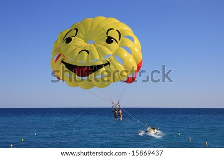 Sport activity - Parasailing over the Mediterranean sea