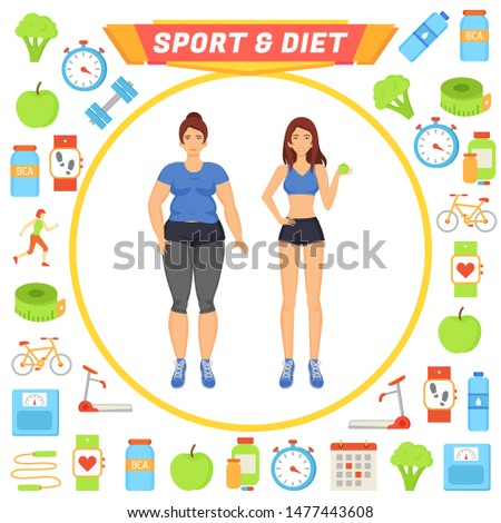 Sport and diet icons set and lady raster. Woman with active lifestyle doing workouts, weight loss. Dumbbells and treadmill exercises healthy food