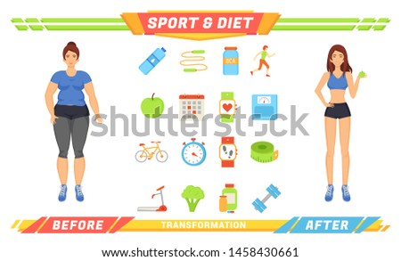Sport and diet women poster raster. Isolated icons bottle of water, apple and broccoli, amino acid and workouts. Exercises and human transformation