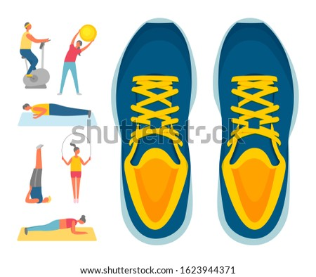 Sport and exercise, sport footwear or sneakers and fitness raster. Exercise bike and bending over with ball, push-ups and aerobics, plank and jumping rope