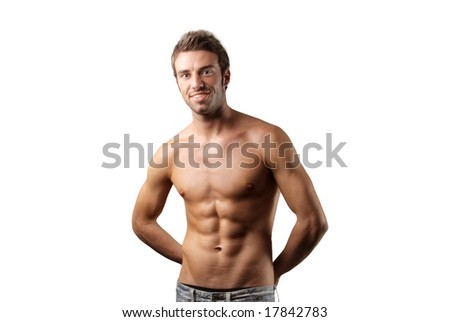Sport and health body of man. Isolated on white.