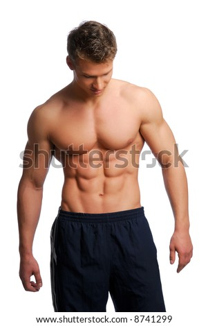 Sport and health body of young muscular man. Isolated on white.