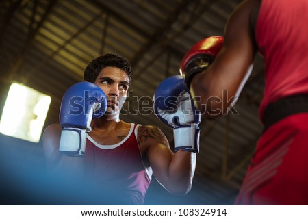 Sport and people, two men exercising and fighting in boxing gym