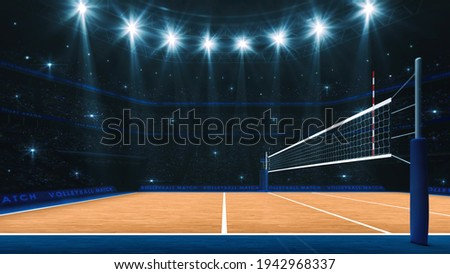Sport arena interior and professional volleyball court and crowd of fans around. Player's view of the net from side. Digital 3D illustration.