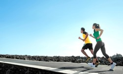 sport - asian couple running outdoor doing exercise