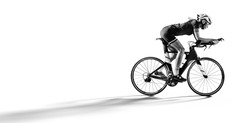 Sport. Athlete cyclists in silhouettes on white background. Isolated on  white.