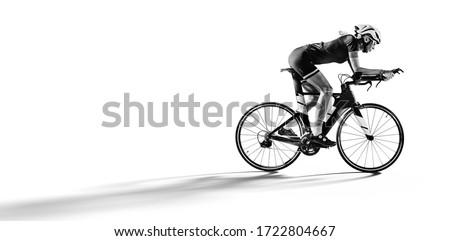 Sport. Athlete cyclists in silhouettes on white background. Isolated on  white. Photo stock ©