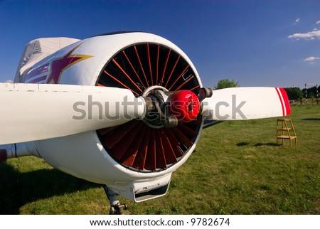 Sport aviation plane propeller, close view