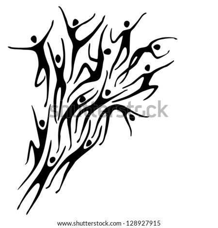 Sport background with silhouettes of person and text box. Abstract black and white simple illustration with figures of peoples in motion. Concept of freedom, competition, activity for print and web