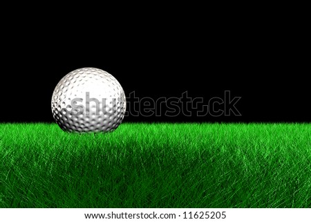Sport background with white golf ball and green grass.