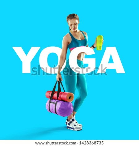 Sport backgrounds. Beautiful slim sporty young girl is preparing for joint training. The concept of sports lifestyle. Yoga concept.