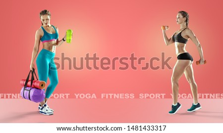 Sport backgrounds. Beautiful slim sporty young girl is preparing for joint training. The concept of sports lifestyle. Fitness concept.