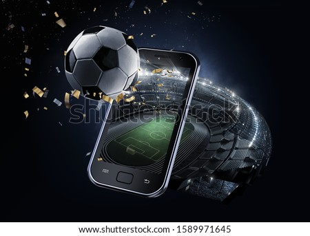 Sport Backgrounds. 3d rendered Soccer stadium. View from mobile phone. Soccer ball before the star sky. Isolated on black.