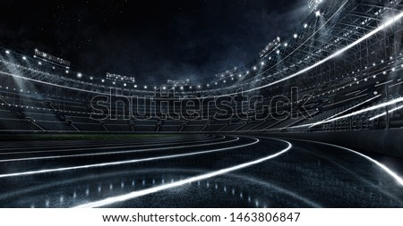 Sport Backgrounds. Futuristic Neon glowing Soccer stadium and running track. Dramatic scene. 3d render image.