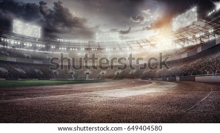 Sport Backgrounds.  Soccer stadium and running track. Dramatic scene.