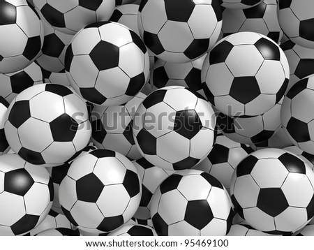 Sport balls background. 3d rendered illustration.
