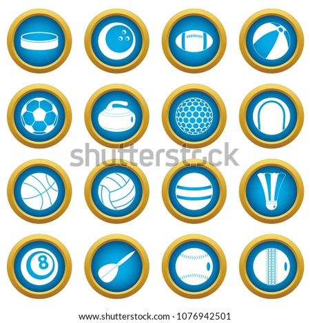 Stock Photo Sport balls icons blue circle set isolated on white for digital marketing