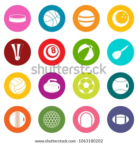 Stock Photo Sport balls icons many colors set isolated on white for digital marketing