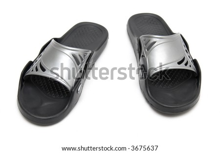 Sport bedroom-slippers. Isolated on white.