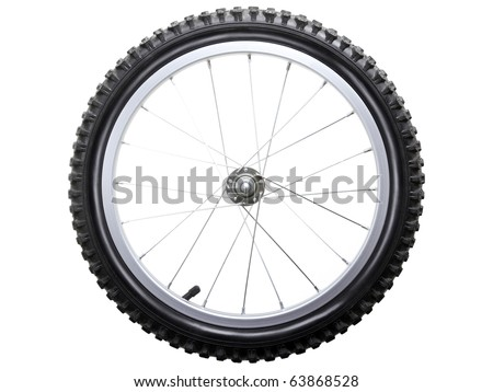 Sport bicycle tire and spoke wheel while isolated