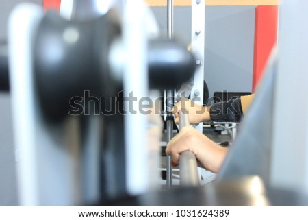 Sport, bodybuilding, lifestyle concept with vignetting effect. Abstract blur fitness gym background #1031624389