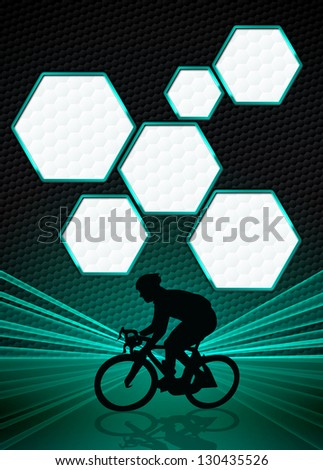 Sport business poster: bike and man background with space