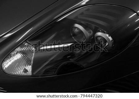 Sport car headlights. Exterior detail.  #794447320