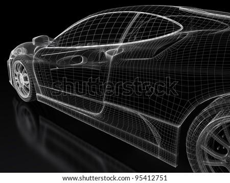 Sport car model on a black background. 3d rendered image