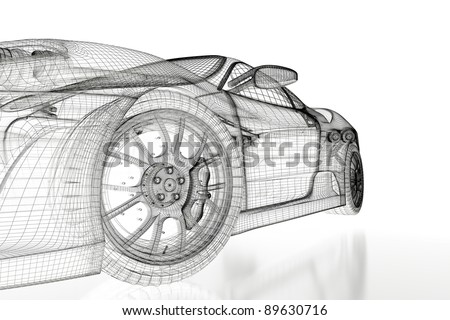 Sport car model on a white background. 3d rendered image
