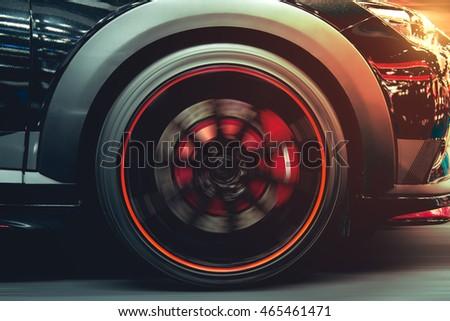 "stock photo sport car running at high speed on road sun set vintage sports car 465461471 - Каталог - Фотообои ""Автомобили"""