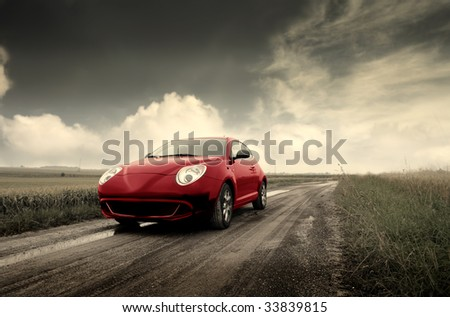 sport car running on a country road