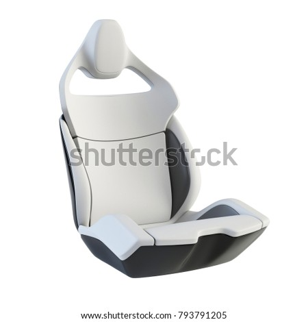 Sport car seat, modern design, isolated on white background, 3d rendering