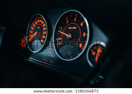 Sport car tachometer and dashboard with  backlight  Photo stock ©