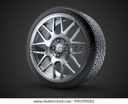 Sport Car Wheel A Single Car Tire Or Tyre On A Black Background