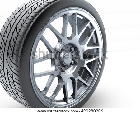 Sport Car Wheel A Single Car Tire Or Tyre On A White Background