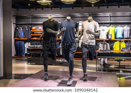 sport clothes store in shopping mall