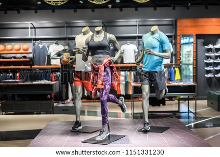 sport clothes store in shopping mall Stock photo ©
