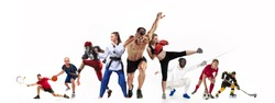 Sport collage about boxing, soccer, american football, basketball, ice hockey, fencing, jogging, taekwondo, tennis. The fit men and women. Caucasian active athletes isolated on white background