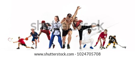 Sport collage about boxing, soccer, american football, basketball, ice hockey, fencing, jogging, taekwondo, tennis. The fit men and women. Caucasian active athletes isolated on white background #1024705708