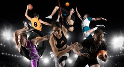 Sport collage. Basketball player, figure skating, rugby, athletic, volleyball. Sports banner