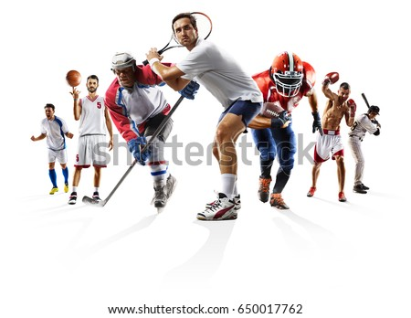 Sport collage boxing soccer american football basketball baseball ice hockey etc #650017762