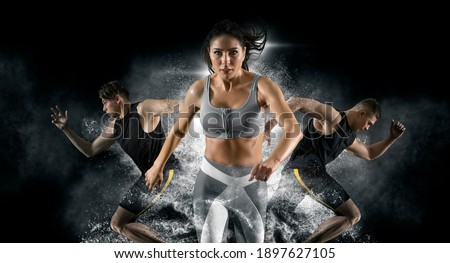 Sport collage. Man and woman on smoke background. Sports banner  Foto d'archivio ©
